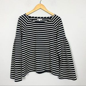 MADEWELL Shirred-Sleeve Stripe Sailor Top M